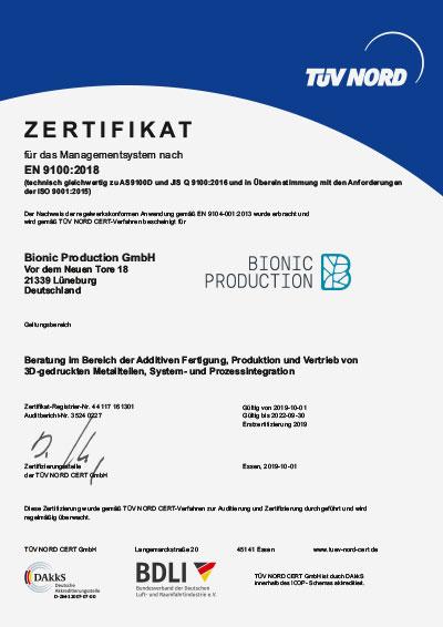 Zertifizierung Bionic Production GmbH EN 9100:2018
