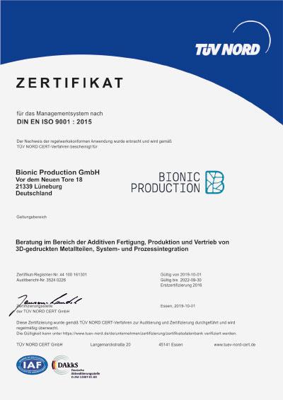 Zertifizierung Bionic Production GmbH DIN EN ISO 9001:2015