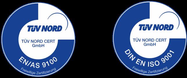 Zertifizierungslogos des TÜV Nord für Bionic Production