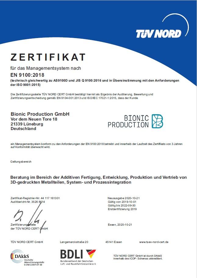 Bionic Production GmbH Zertifikat EN 9100-2018